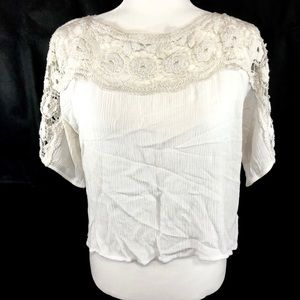 Staring at Stars Anthro Ivory Crochet Crop Top L